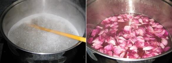In den heißen frisch aufgekochten Sud aus Zucker, Wasser und Zitronen werden die Blütenblätter der Duftrosen hineingegeben. Dann 24h ziehen lassen. Für einen Liter benötigt man 7-10 große Blütenköpfe.